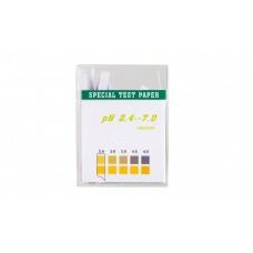 Лакмусовая бумага (pH тест) 100 полосок, пластиковый бокс, от 2.4 до 7    100 шт.